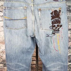 Request Jeans - Request Embroidered Distressed Jeans 40x34